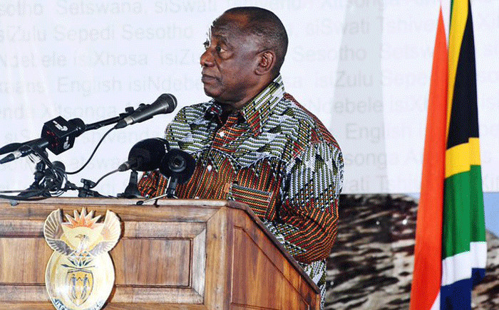 President Cyril Ramaphosa addressed the crowd at a Heritage Day celebration at the Mxolisi Jacobs Stadium in Upington on 24 September 2019. Picture: GCIS