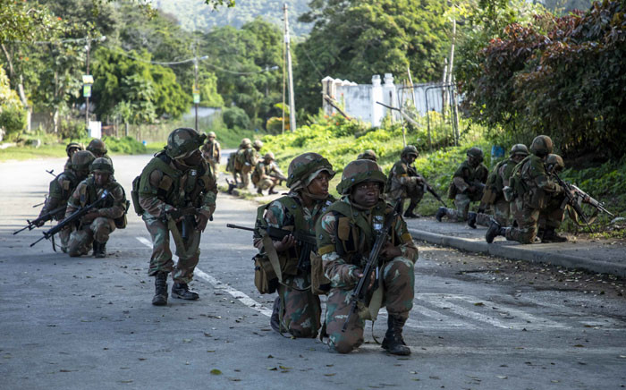 SAI troops patrol areas of Port St Johns town during rehearsals for urban combat in the DRC, prior to deployment. Picture: Thomas Holder/EWN