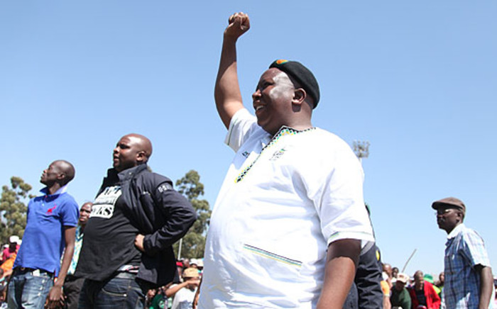 Former ANC Youth League President Julius Malema in Carltonville at Gold Fields KDC west shaft to address striking miners on 11 September, 2012. Picture: Taurai Maduna/Eyewitness News.
