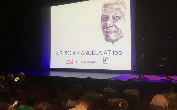 Letters that the late Nelson Mandela wrote in prison were brought to life on a stage in New York on Monday last night. Picture: Twitter/ @NadiaNeophytou.