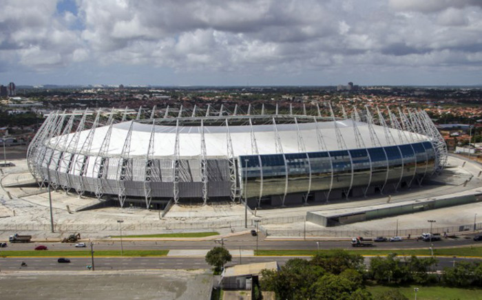 A handout photo released by the Brazilian Ministry of Tourism shows an aerial view of Castelao stadium in Fortaleza, Brazil, where Netherlands take on Mexico tonight. Picture: AFP