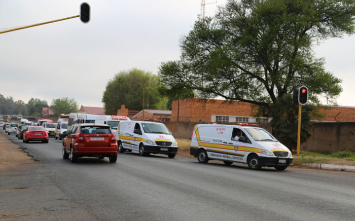 Emergency Service arriving at the Swartkop Air Force Base in Pretoria will transport victims to the Steve Biko Hospital. Picture: Christa Eybers/EWN.