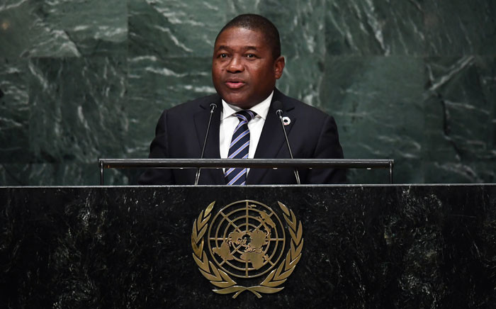 Mozambique's President Filipe Jacinto Nyusi addresses the 71st session of United Nations General Assembly at the UN headquarters in New York on 21 September 2016. Picture: AFP.