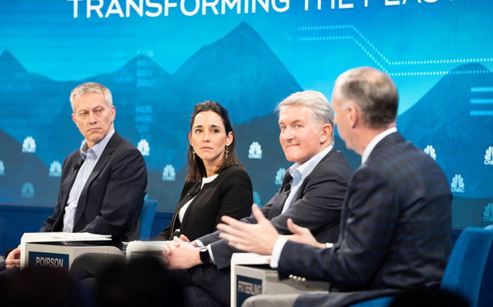 Coca-Cola Company CEO James Quincey, Brune Poirson of the French Ministry of Ecology, Sustainable Development and Energy and PepsiCo chairman-elect and CEO Ramon Laguarta during the session 'Transforming the Plastics Economy' at the World Economic Forum in Davos on 24 January 2019. Picture: World Economic Forum