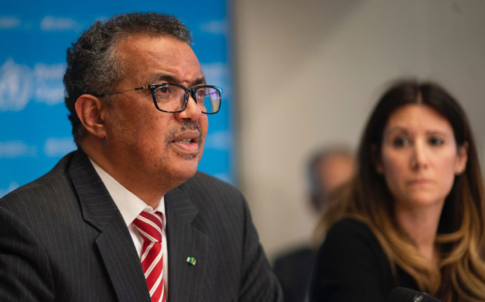 WHO director general Tedros Adhanom Ghebreyesus (left) at a briefing on the coronavirus in Geneva on 11 March 2020. Picture: @WHO/Twitter