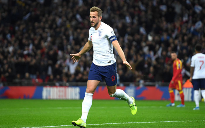 England captain Harry Jane celebrates his goal against Montenegro at Wembley Stadium in London, England on 14 November 2019. Picture: @UEFAEURO/Twitter