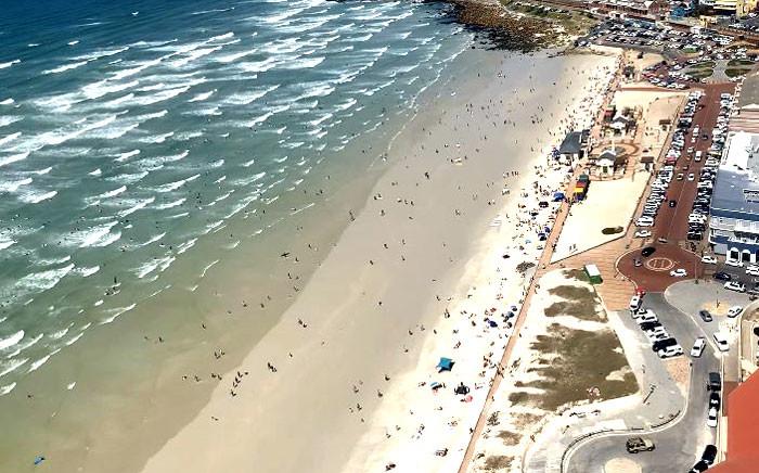 An aerial view of Muizenberg Beach in Cape Town. Picture: Kaylynn Palm/EWN.
