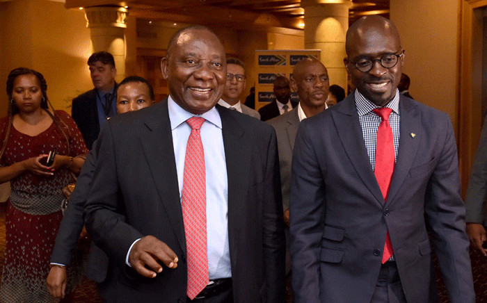 Deputy President Cyril Ramaphosa flanked by Finance Minister Malusi Gigaba at the breakfast planning session ahead of South Africa's participation in the World Economic Forum. Picture: GCIS