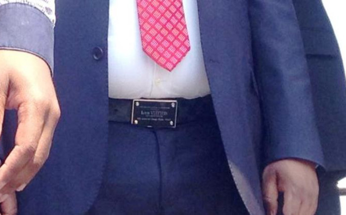 Julius Malema wears a Louis Vuitton belt to court proceedings on 30 September, 2014. Picture: Vumani Mkhize/EWN.