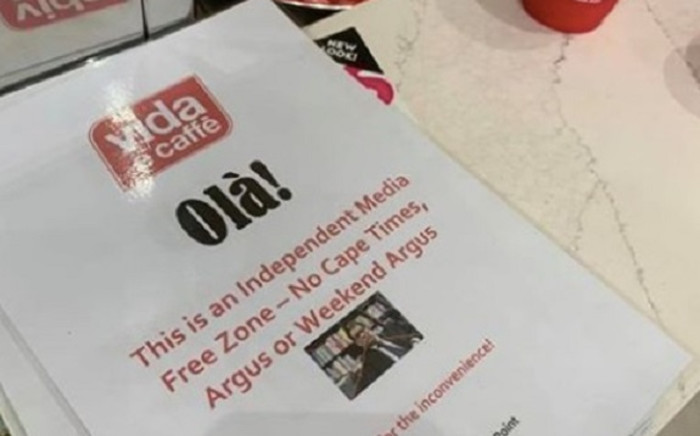 The controversial Vida e caffè poster which went viral on social media. The poster read: 'Olà! This is an Independent Media Free Zone - No Cape Times, Argus or Weekend Argus'. Picture: Supplied.