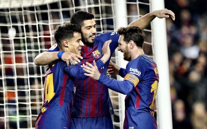Phil Coutinho, Luis Suarez and Lionel Messi. Picture: @FCBarcelona/Twitter.