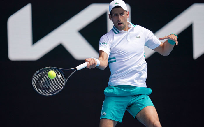 Novak Djokovic in action at the Australian Open on 10 February 2021. Picture: @AustralianOpen/Twitter.