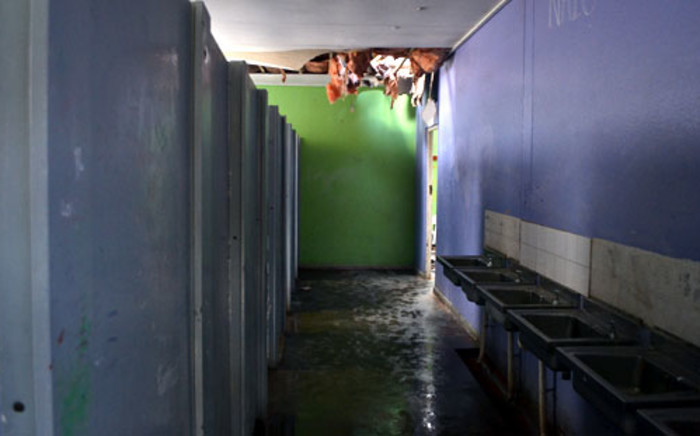 FILE: A bathroom at Cascade Primary School in Mitchells Plain where intruders caused flooding after entering through the ceiling. Picture: EWN.