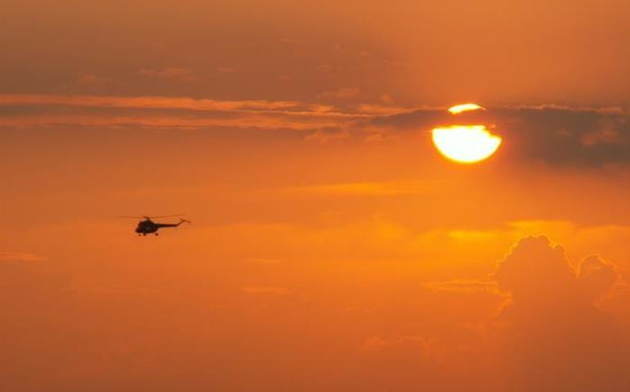 Helicopter at sunset. Picture: Freeimages.
