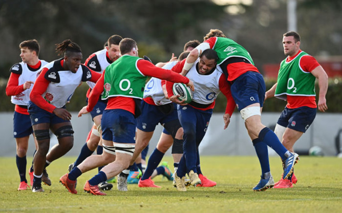 England players during a training session on 18 March 2021 ahead of their Six Nations match against Ireland. Picture: @EnglandRugby/Twitter