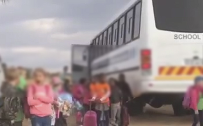 A screengrab from a video uploaded to YouTube on 17 June 2015 which appears to show schoolchildren attending Curro Roodeplaat being racially segregated.