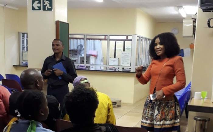 MMC for Health and Social Development Dr Mpho Phalatse addressing Eldorado Park community members about the upcoming launch of a substance abuse centre. Picture: @mphophalatse1/Twitter.