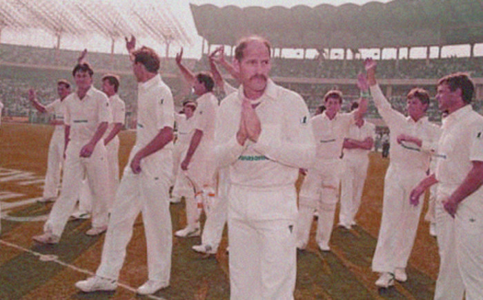 South Africa's Clive Rice leads his team back into international cricket, India v South Africa, first ODI, Calcutta, 10 November, 1991. Picture: www.espncricinfo.com