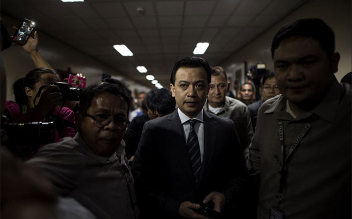 Philippines senator Antonio Trillanes arrives at the senate building in Manila on 25 September 2018. Trillanes, the chief critic of President Rodrigo Duterte, was arrested but posted bail after a court issued a warrant for his arrest in what the lawmaker decried as a 'failure of democracy'. Picture: AFP