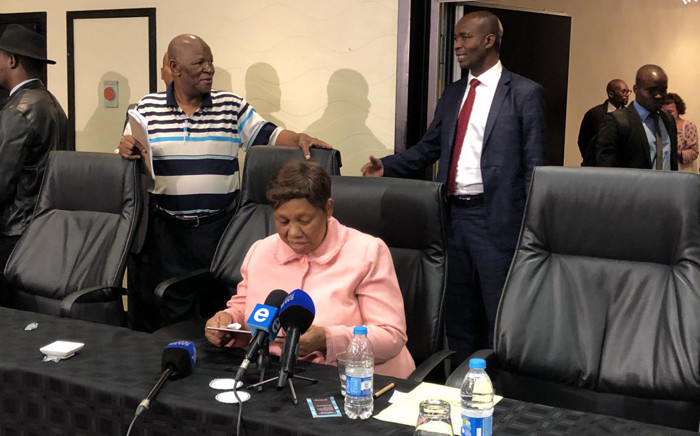 Minister of Basic Education Angie Motshekga briefing the media after she called an urgent Council of Education Ministers meeting. Picture: @SAgovnews/Twitter.