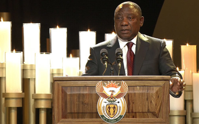Deputy president of the ANC, Cyril Ramaphosa, speaks during the funeral service of Nelson Mandela in his childhood village of Qunu on 15 December, 2013. Picture: AFP.