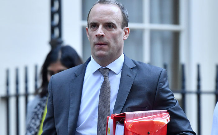 In this file photo taken on 14 November 2018, Britain's former Secretary of State for Exiting the European Union (Brexit Minister) Dominic Raab leaves Downing Street in London. Picture: AFP