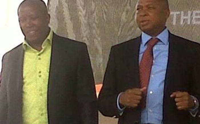 Julius Malema & Limpopo Premier Cassel Mathale in Seshego. Picture: Tshepo Lesole/EWN
