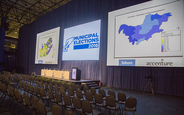 The boards where voting tallies will be displayed at the IEC National Results Centre in Pretoria on 3 August 2016. Picture: Reinart Toerien/EWN.