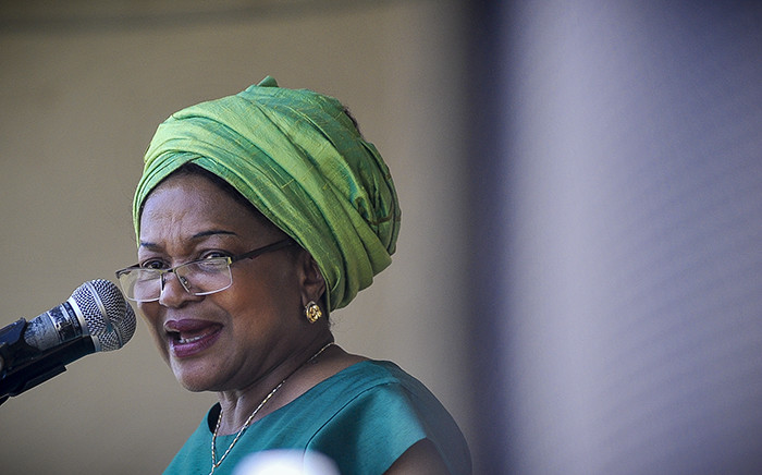Baleka Mbete addresses a gathering of ANC supporters at the 104 birthday rally in Grabouw. Picture: Thomas Holder/EWN