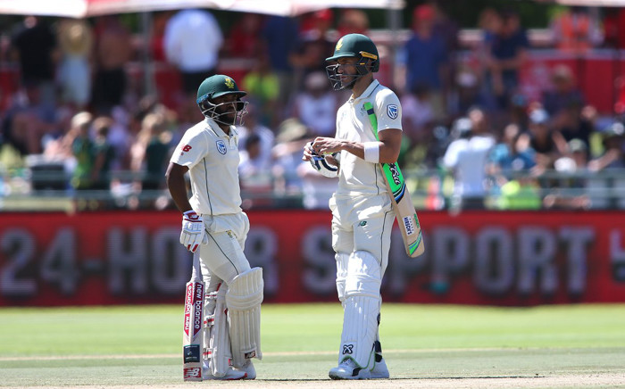 Temba Bavuma and Faf du Plessis during the Test against Pakistan on 4 January 2019. Picture: Twitter/OfficialCSA