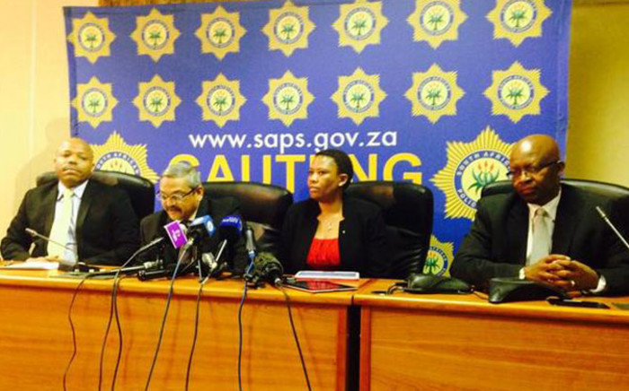 Members of the SAPS are briefing media on investigations into the murder of Bafana Bafana and Orlando Pirates captain Senzo Meyiwa, on 03 November 2014. Picture: Masego Rahlaga/EWN.