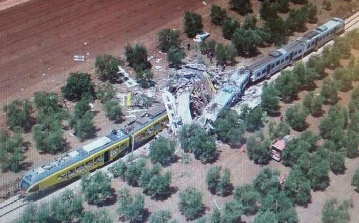 The scene of a fatal head-on train collision in Southern Italy on 12 July 2016. Picture: Vigili del Fuoco.