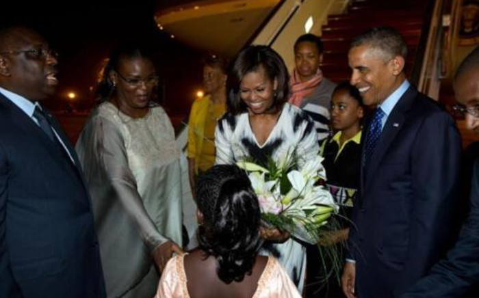 President Barack Obama and family land in Senegal. Picture: Peter Souza/The White House