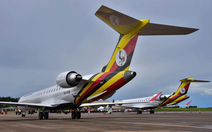 Newly acquired Uganda Airlines Bombardier CRJ900 aircraft stand on the runway at Entebbe Airport on the outskirts of Kampala on April 23, 2019. Picture: AFP.