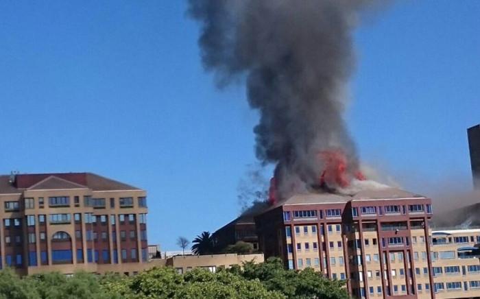 Fire in Braampark, Braamfontein on 18 April 2017. Picture: Arrive Alive.
