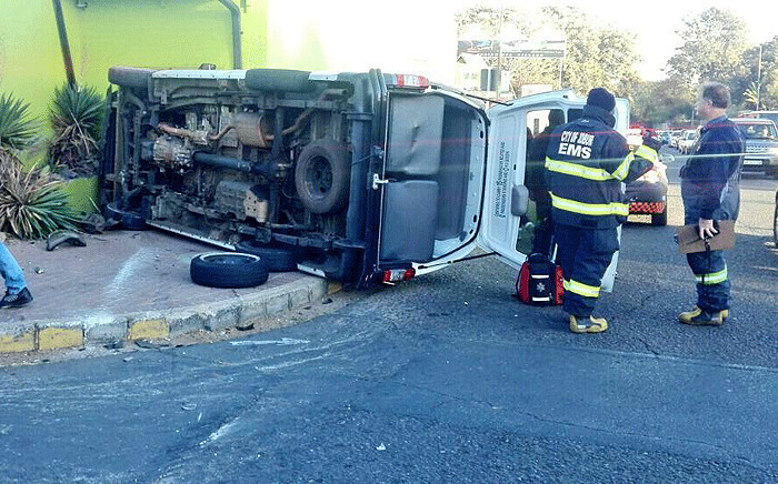 A taxi  overturned after colliding with a car near Malibongwe Drive on 22 August 2017. Picture: @Netcare911_sa