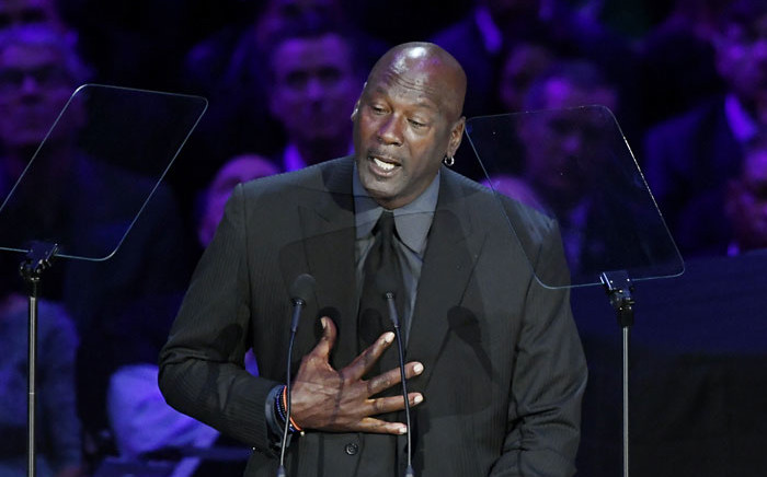 Michael Jordan speaks during 'The Celebration of Life for Kobe & Gianna Bryant' at Staples Center on 24 February 2020 in Los Angeles, California. Picture: AFP