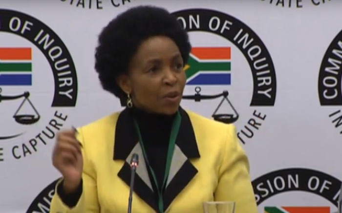 A screengrab of Minister of Women Maite Nkoana-Mashabane appearing at the Zondo commission of inquiry on 21 November 2019.