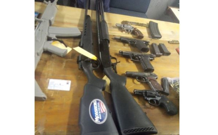 Illegal firearms seized by police at a house in Khayelitsha. Picture: SAPS