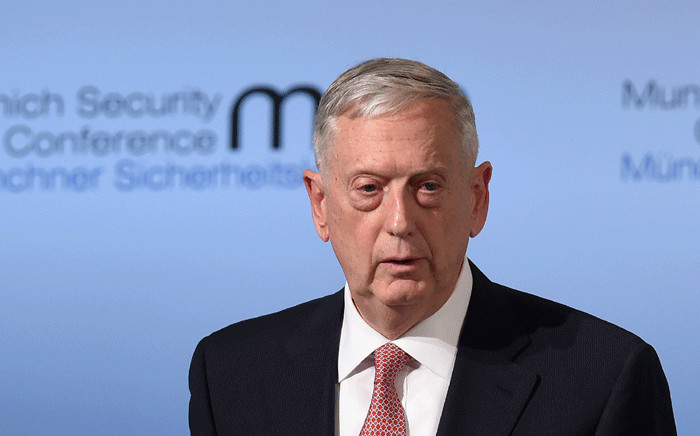 US Secretary of Defence James Mattis delivers an opening statement on the first day of the 53rd Munich Security Conference (MSC) at the Bayerischer Hof hotel in Munich, southern Germany, on 17 February 2017. Picture: AFP
