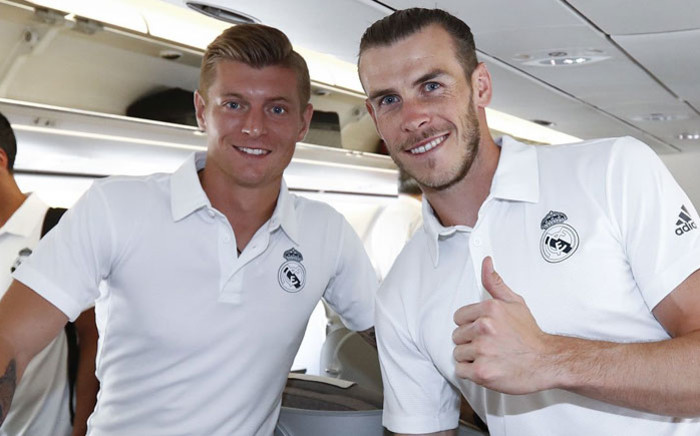 Real Madrid players Toni Kroos (left) and Gareth Bale (right) pose while during the team's pre-season tour of the United States. Picture: @realmadriden/Twitter