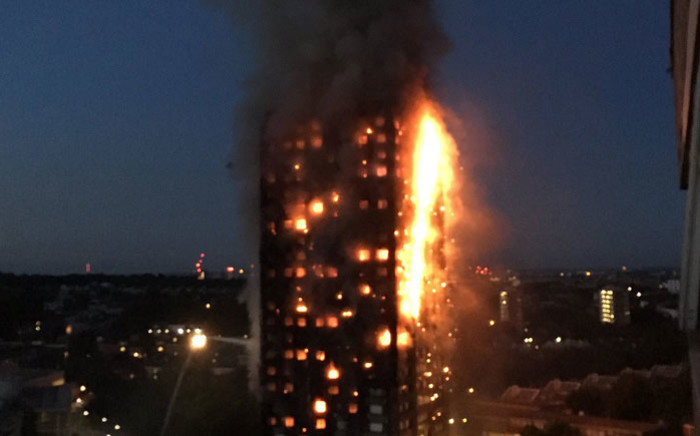 The apartment block on fire in central London. Picture: @LondonFire/Twitter