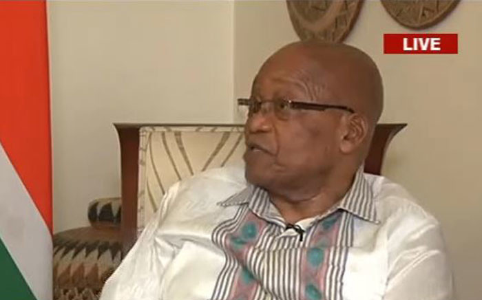 President Jacob Zuma briefs the nation on his decision after the ANC NEC decided to recall him. Picture: YouTube screengrab.