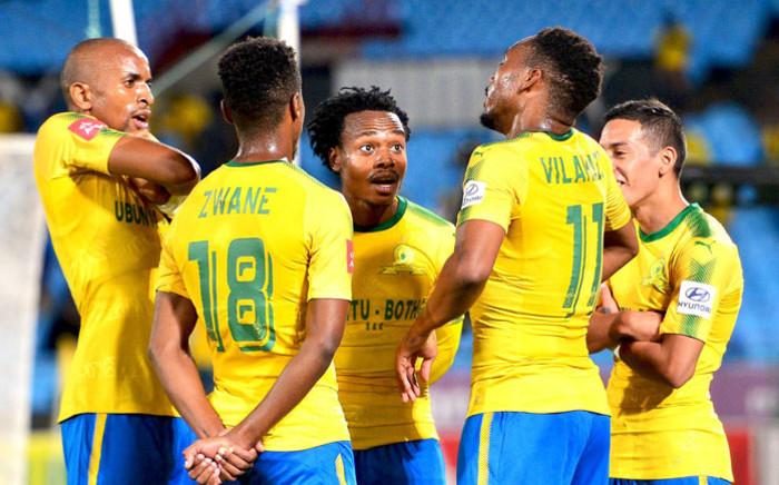 FILE: Mamelodi Sundowns players celebrate a goal. Picture: @Masandawana/Twitter