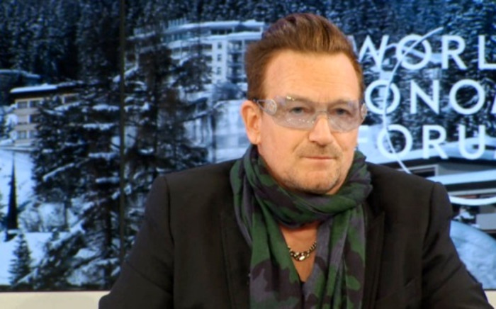 FILE: A screenshot of Irish rock star and lead singer of U2, Bono, speaking at the World Economic Forum in Davos, 24 January 2014. Picture: weforum.org.
