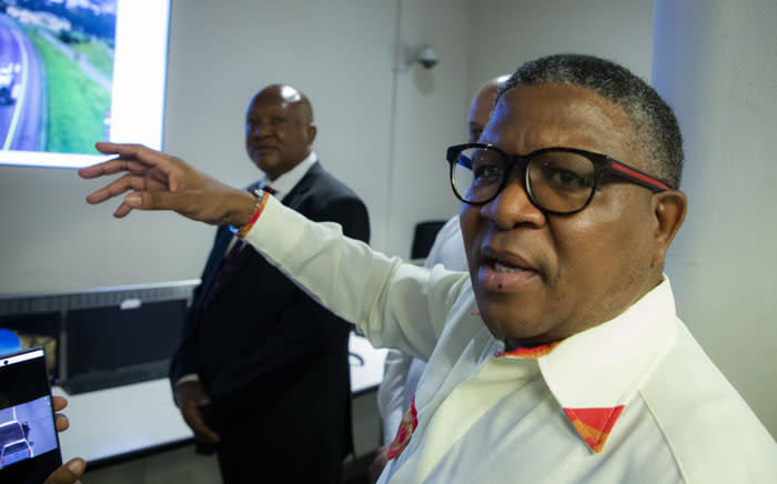 Transport Minister Fikile Mbalula at the Toll Collection Offices in Rooihuiskraal, Centurion during a festive season visit on 17 December 2019. Picture: Ahmed Kajee/EWN