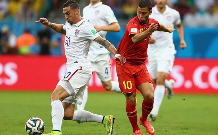 FILE: USA defender Geoff Cameron holds off Belgium midfielder Eden Hazard during their World Cup last-16 match. Picture: Facebook.