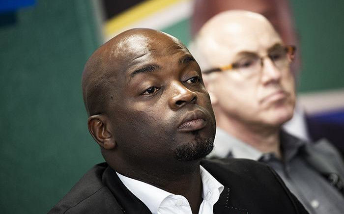 Tshwane Mayor Solly Msimanga announces his resignation on 18 January. Picture: Kayleen Morgan/EWN