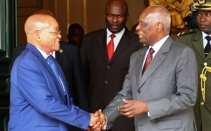 FILE: President Jacob Zuma at the Presidential Palace with President Jose Eduardo dos Santos during his working visit in Angola on 14 January 2015. Picture: GCIS.