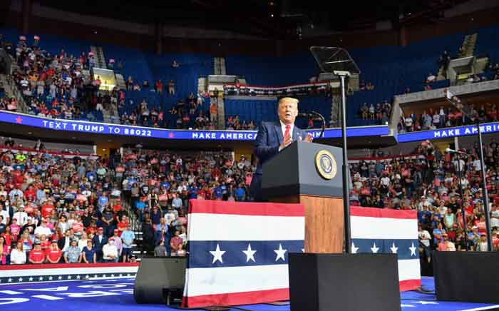 FILE: US President Donald Trump speaks during a campaign rally at the BOK Center on 20 June 2020 in Tulsa, Oklahoma. Picture: AFP.